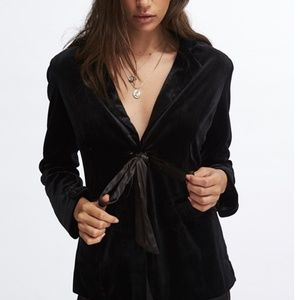 velvet black blazer- comes with tie belt